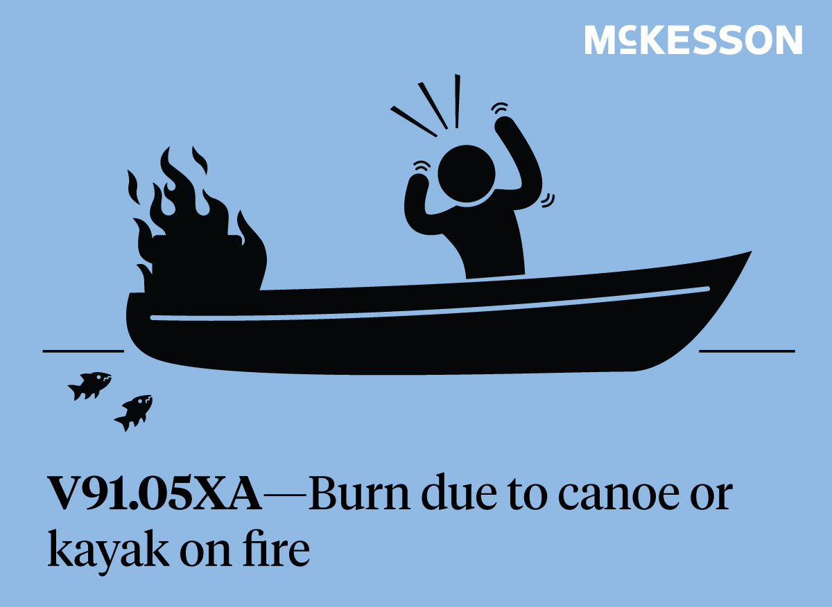 ICD-10 Labor Day Code - burn due to fire on canoe
