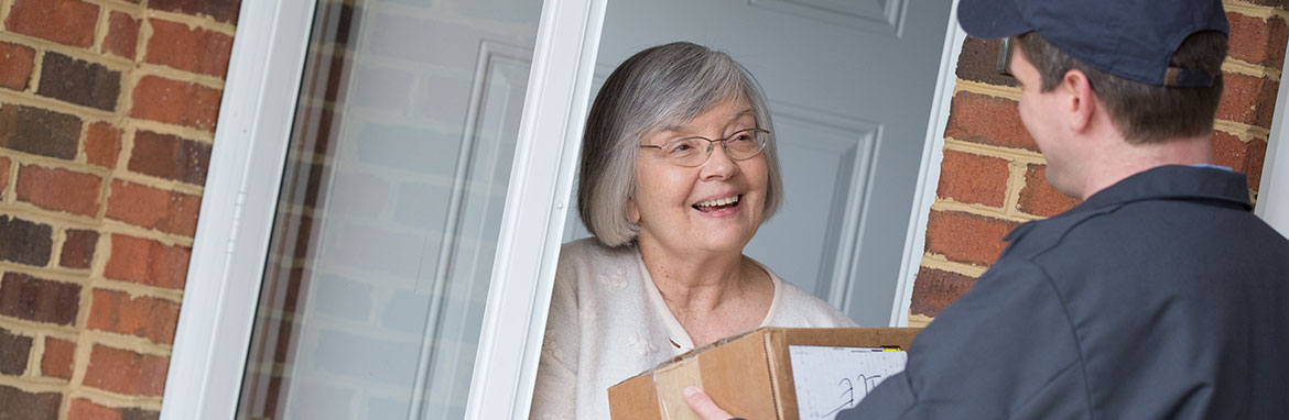 Customer receiving a package
