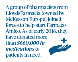 In our business in Italy, more than 30 pharmacists joined forces to start Farmaco Amico. As of early 2018, they have donated more than $660,000 in medications to patients in need.