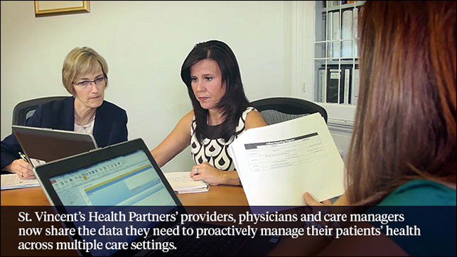 St. Vincent's Health Partners' prioviders, physicians and care managers now share the data they need to proactively manage their patients' health across multiple care settings.