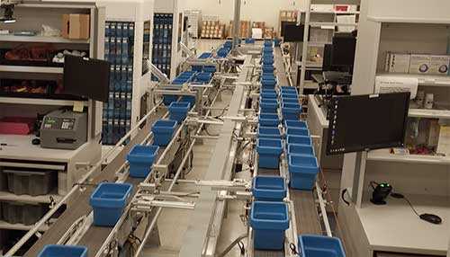 Image of a Central Fill pharmacy automation line
