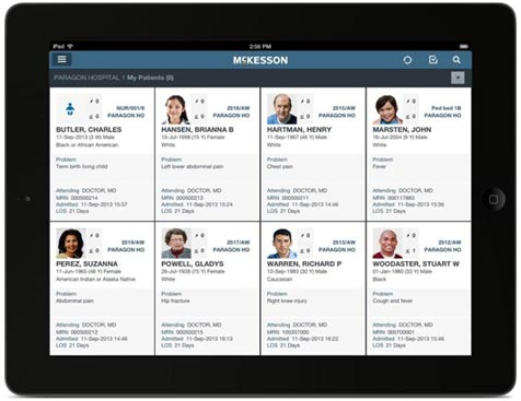 Figure 1: Patient Census displayed on iPad